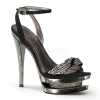 FASCINATE-633 Black Suede/Pewter Chrome